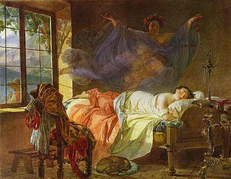 קרל בריולוב, חלום של נערה לפני עלות השחר, רומנטיקה, רוסיה