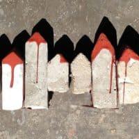 שיפודים, בניינים, בטון, אדום