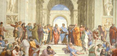 אסכולת אתונה, רפאל, אפלטון, אריסטו, פרסקו