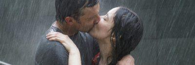 זוג, נשיקה, גשם