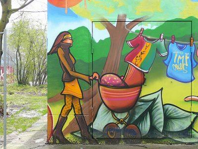 אימהות, אמא, תינוק, עגלה, ברלין, ציור קיר