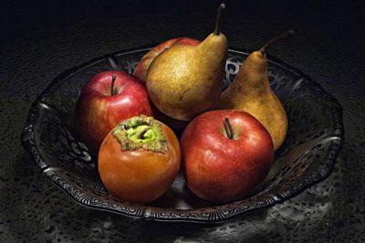 קערת פירות, תפוחים, אגסים, אפרסמון