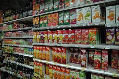 סופרמרקט, מדף, משקאות, מיצים