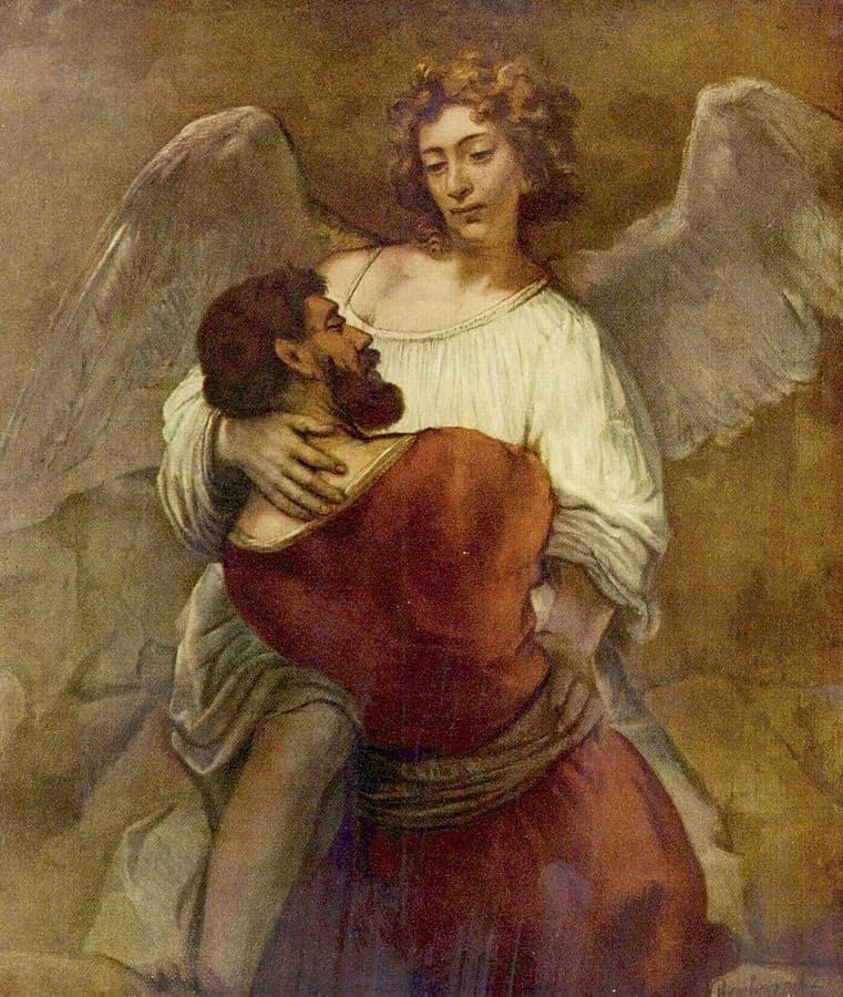 יעקב נאבק במלאך, רמברנדט