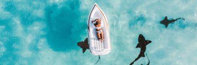 סירה, ים, כרישים