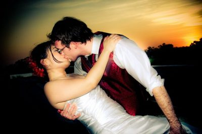 זוג, נשיקה, שקיעה, חתונה, חתן, כלה