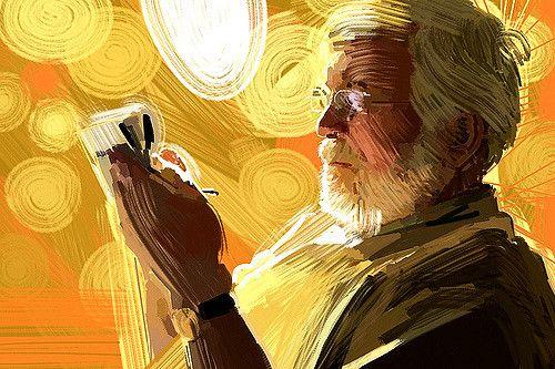 גבר, זקן, תשבץ, עיתון, שמש, אור