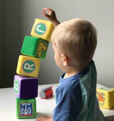ילד, משחק, קוביות, לימוד, שפה