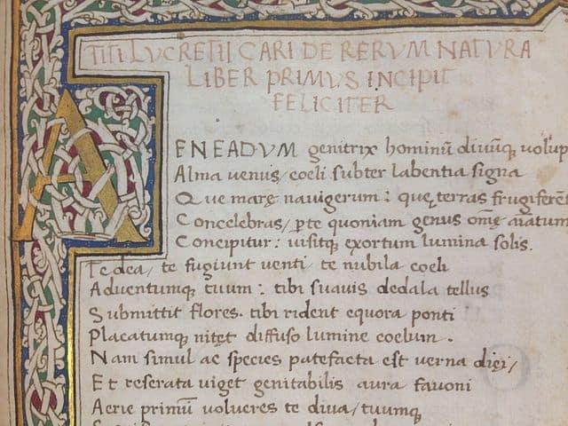 על טבע הדברים, כתב יד, לוקרטיוס