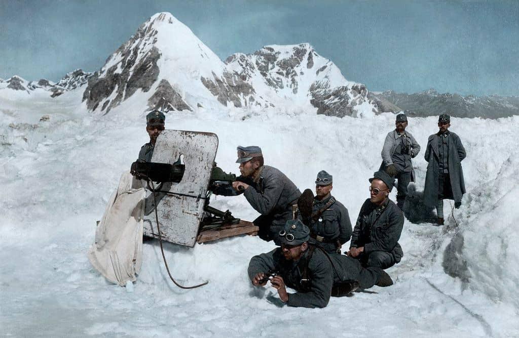 מלחמת העולם הראשונה, אוסטריה, אלפים, איטליה, מקלע