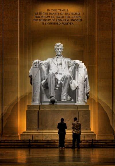 לינקולן, אנדרטה, מול, וושינגטון