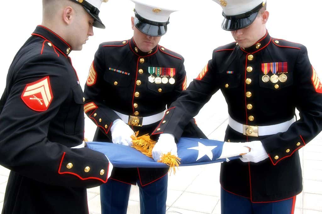 דגל, קיפול דגל, נחתים, ארצות הברית