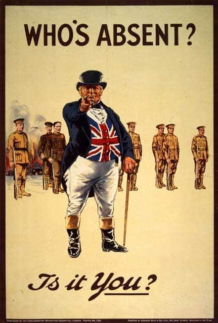 ג'ון בול, כרזה, מלחמת העולם הראשונה, גיוס