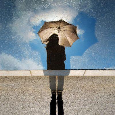 גשם, שלולית, מטריה, השתקפות, מראה