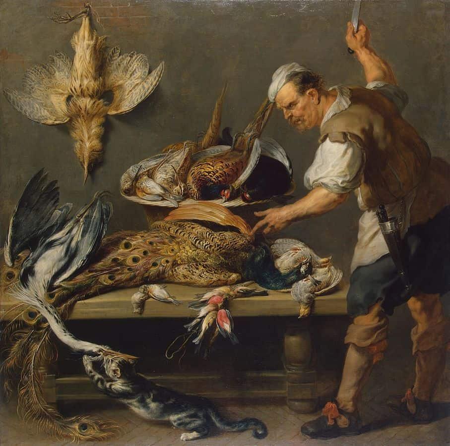 פרנס סניידרס, הרמיטז', טבח ליד שולחן מטבח עם חיות שניצודו