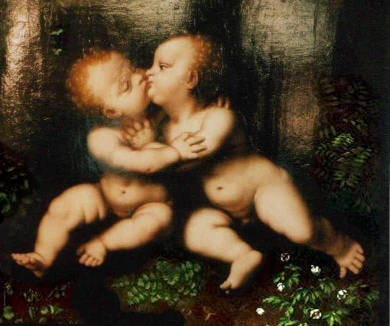 חיבוק התינוקות הקדושים, ישו, יוחנן המטביל, לאונרדו דה וינצ'י