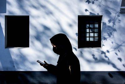צעירה, רחוב, סין, סלולרי, סמרטפון