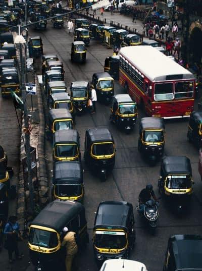 מומבאי, תנועה, כאוס, רחוב, מוניות