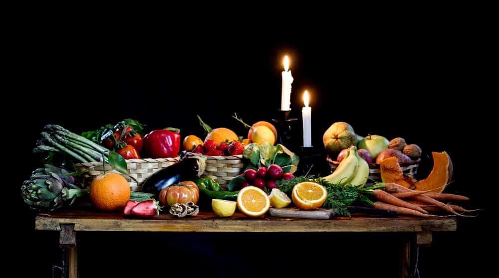 שולחן, מלא, מלאות, פירות, אוכל, טבע דומם