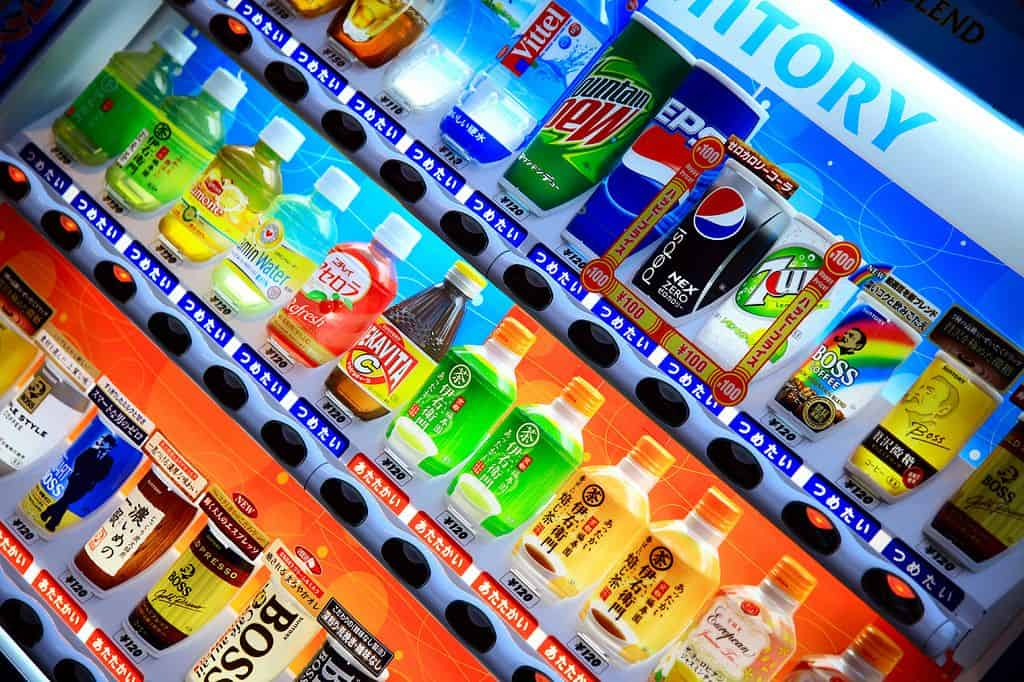 משקאות קלים, מכונה לממכר משקאות