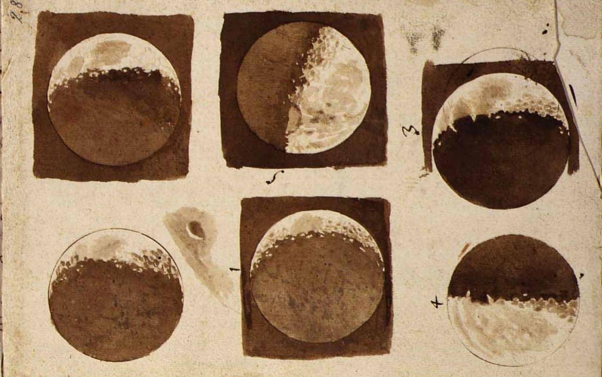 גלילאו, ירח, רישומים, תצפיות