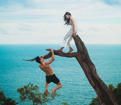 עץ, זוג, גבר תלוי, אישה, ענף