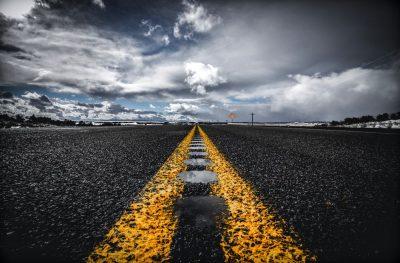 דרך, כביש, אספלט, עננים