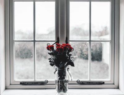 ורדים, חלון, זר, אגרטל