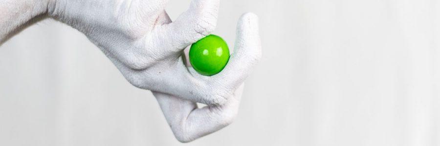 כדור גומי, ירוק, אצבעות, יד