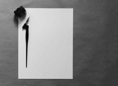 דף לבן, עט נובע, דיו, קסת