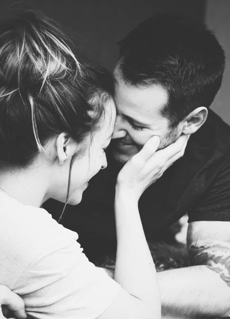 זוג, נגיעה, כף יד, פנים