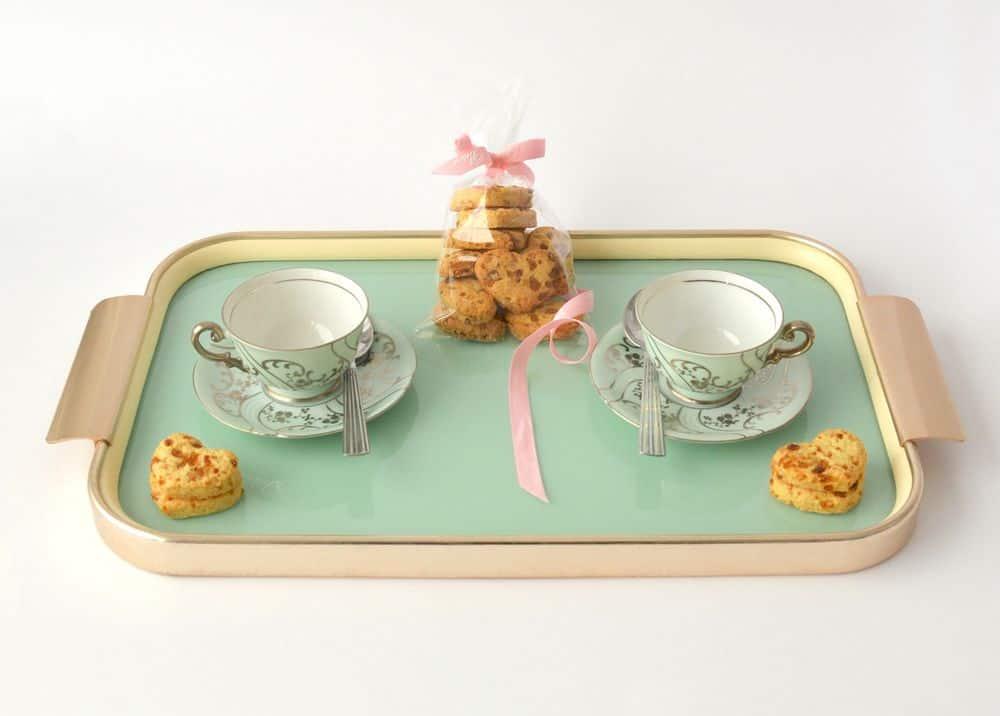 מגש, תה, ספלים, עוגיות, שניים, ביחד