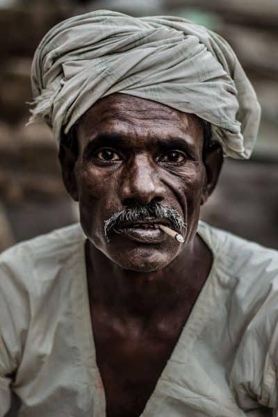 הודו, איש, קמטים, סיגריה, טורבן