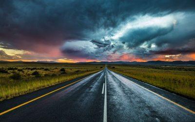 שקיעה, דרך, דרום אפריקה, עננים