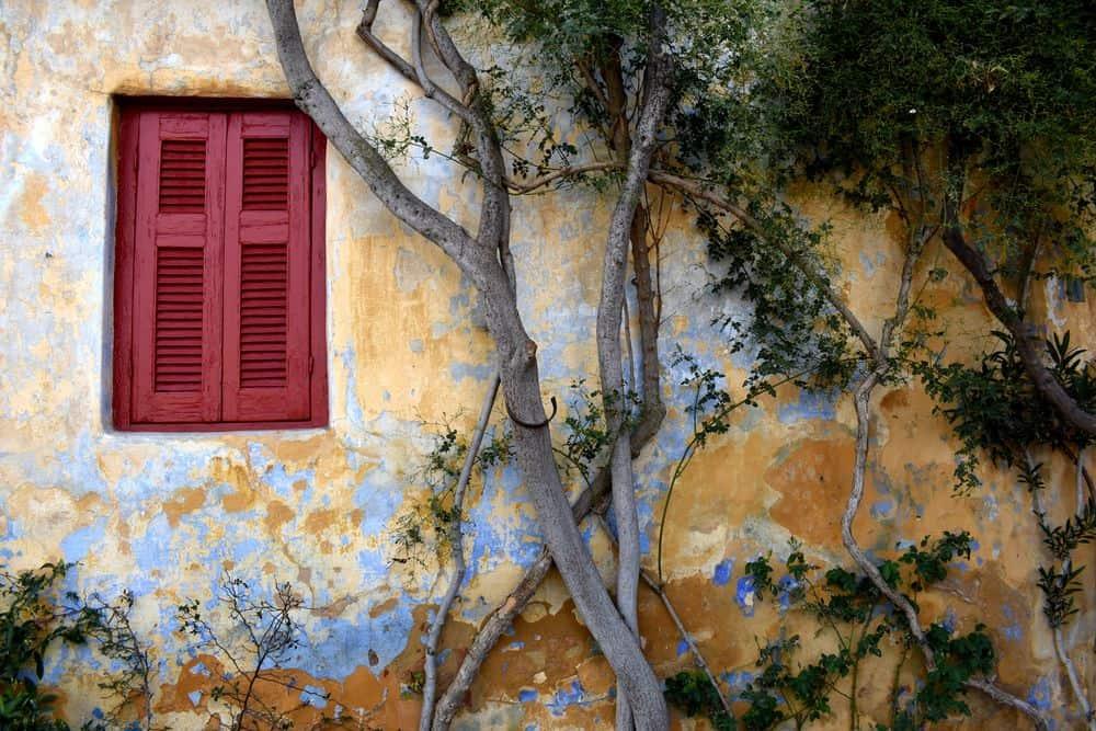 בית, עץ, חלון, אתונה, יוון