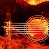 גיטרה, להבות, אש