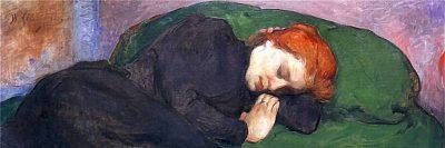 אישה ישנה עם חתול, ולדיסלב סלווינסקי