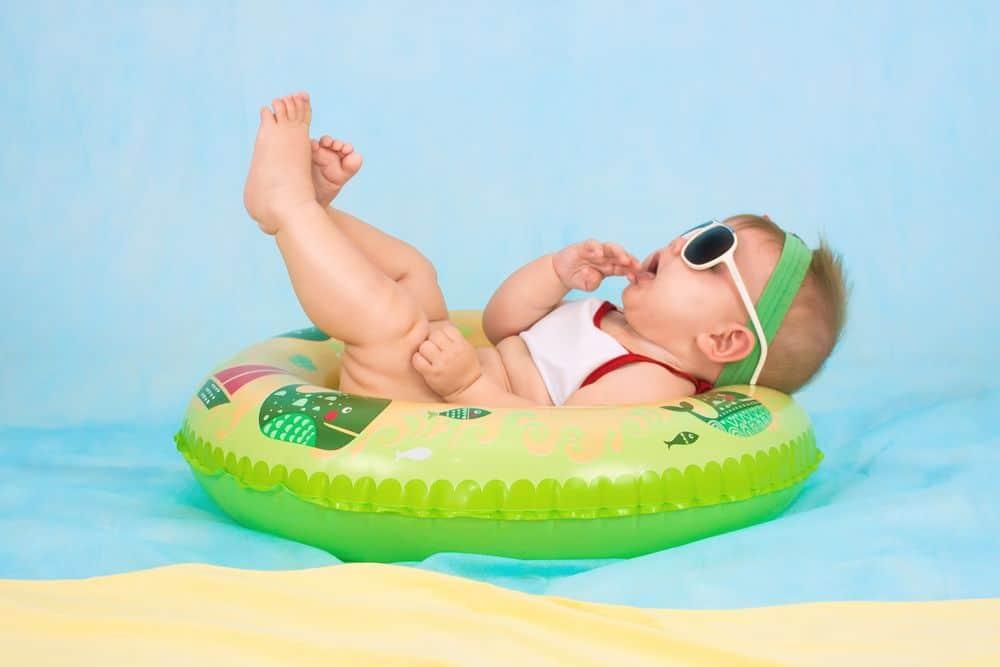 תינוקת, מים, גלגל ים, הנאה, אינסטינקט