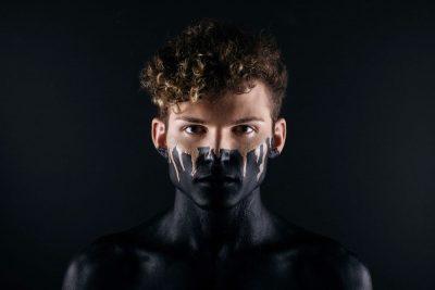 פנים, שחור, לבן, איש צעיר