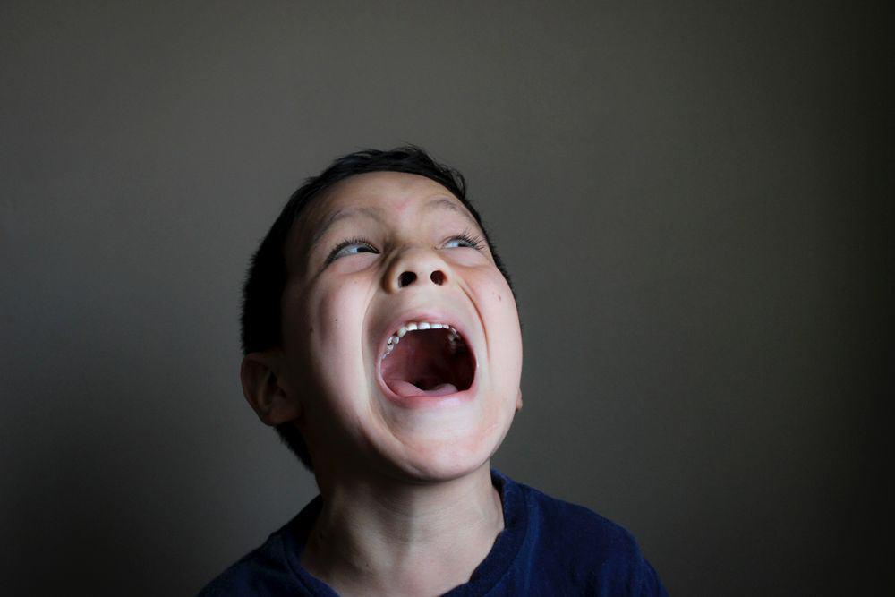ילד, צועק, פחד, פה פעור