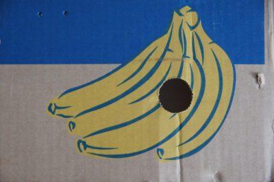 ארגז, קרטון, בננה, חור