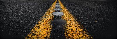 דרך, אספלט, מים, קו הפרדה, צהוב
