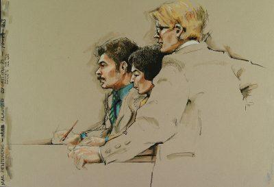 נאשמים, עורכי דין, בית משפט, איור