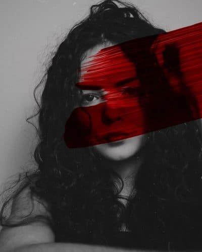 בחורה, דם, פס צבע, אדום