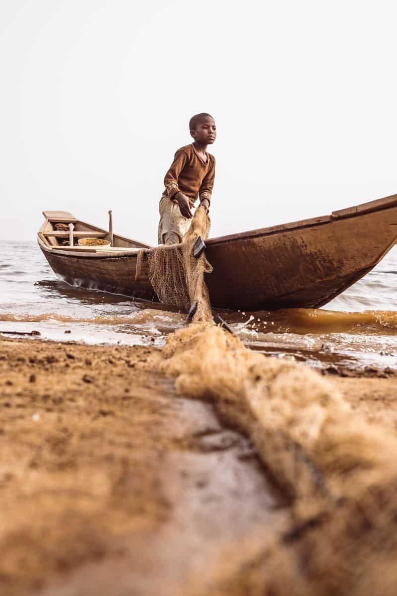ילד, דיג, ניגריה, רשת, סירה