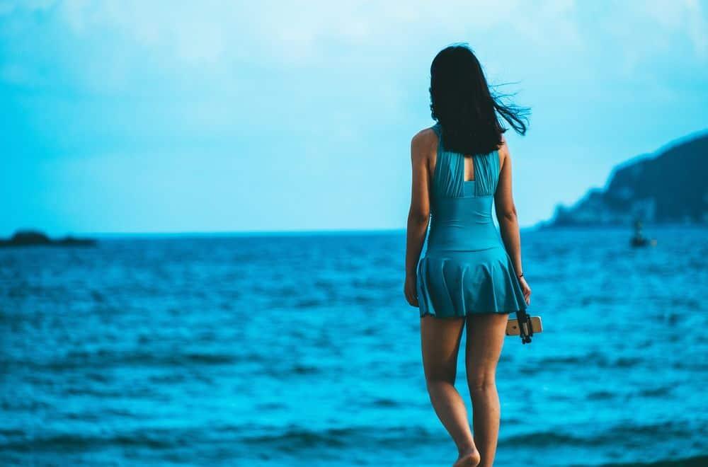 אישה, בגד ים, חוף, ים