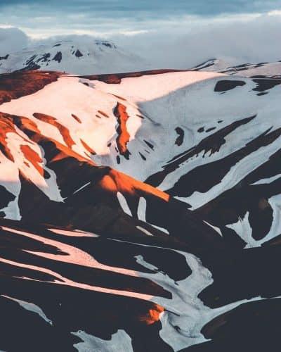 איסלנד, הר, שמש, צל, שלג, אחר חצות