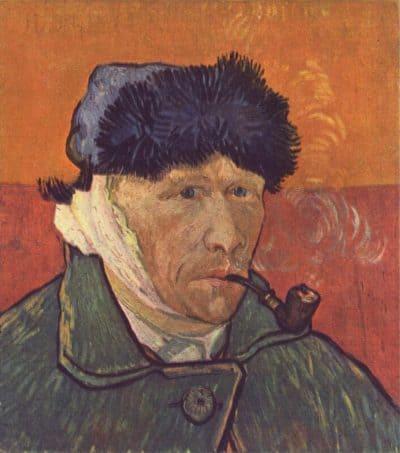 ון גוך, דיוקן עצמי, תחבושת, אוזן, מקטרת