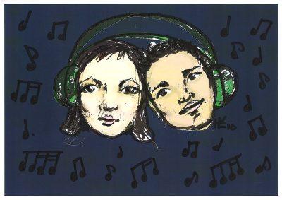 אוזניות, ביחד, לחלוק