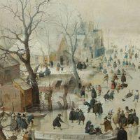 נוף חורפי עם מחליקים על הקרח, הנדריק אברקמפ
